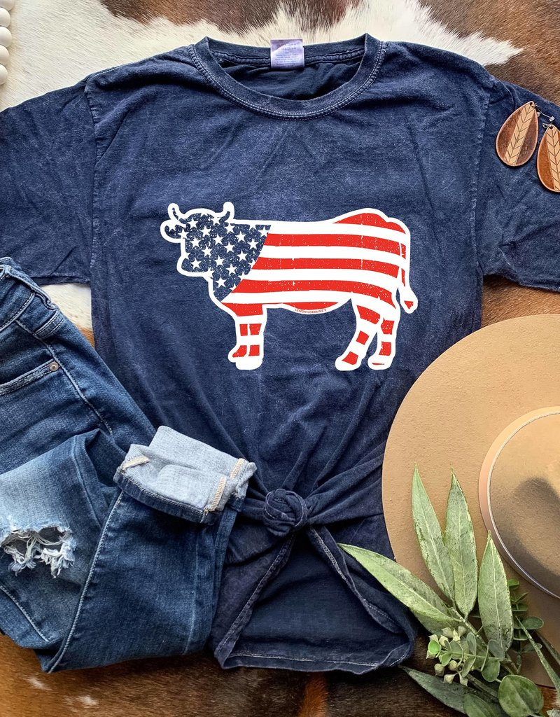 509 Broadway Patriotic Cow Tee