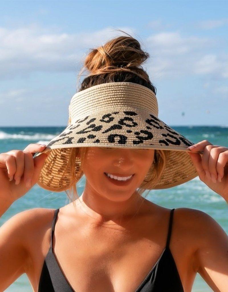 509 Broadway Leopard Bow Sun Visor Hat