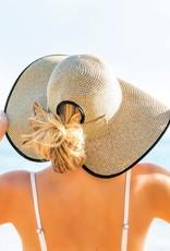 509 Broadway Floppy Messy Bun Straw Bow Beach Hat