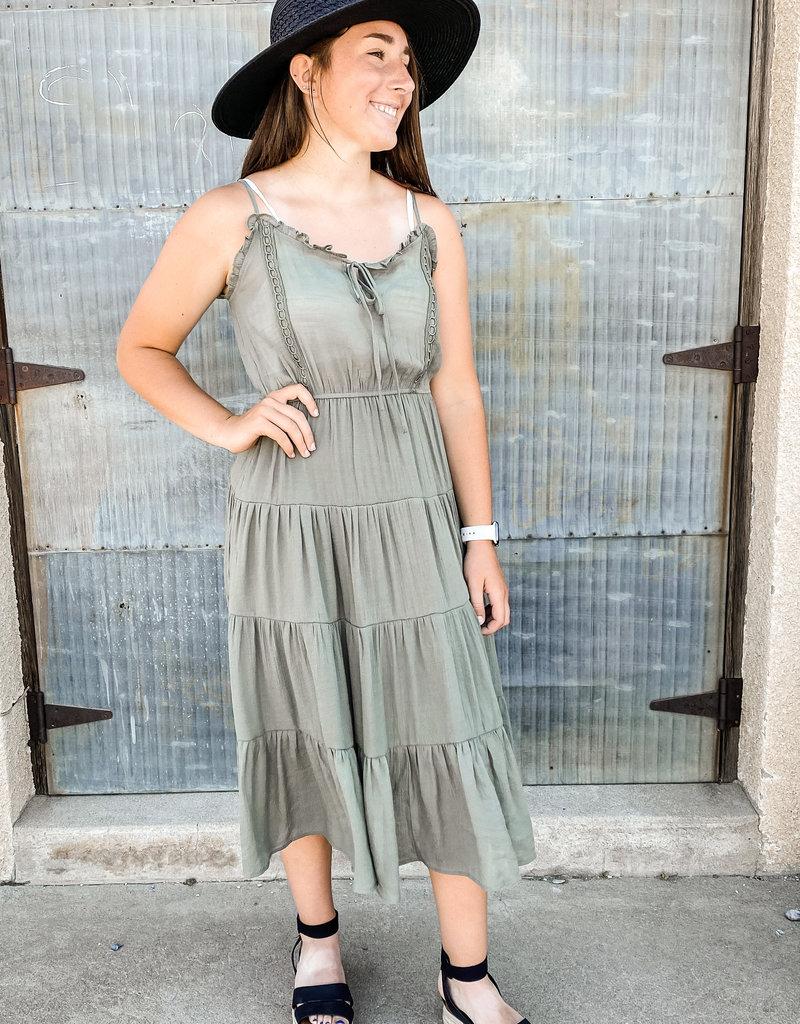 509 Broadway Front Tie Midi Dress
