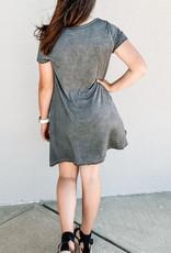 509 Broadway Washed Crossed V-Neck Pocket Dress