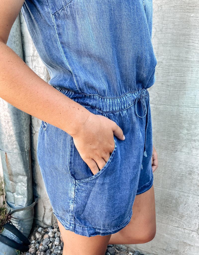 509 Broadway Sleeveless Washed Denim Romper