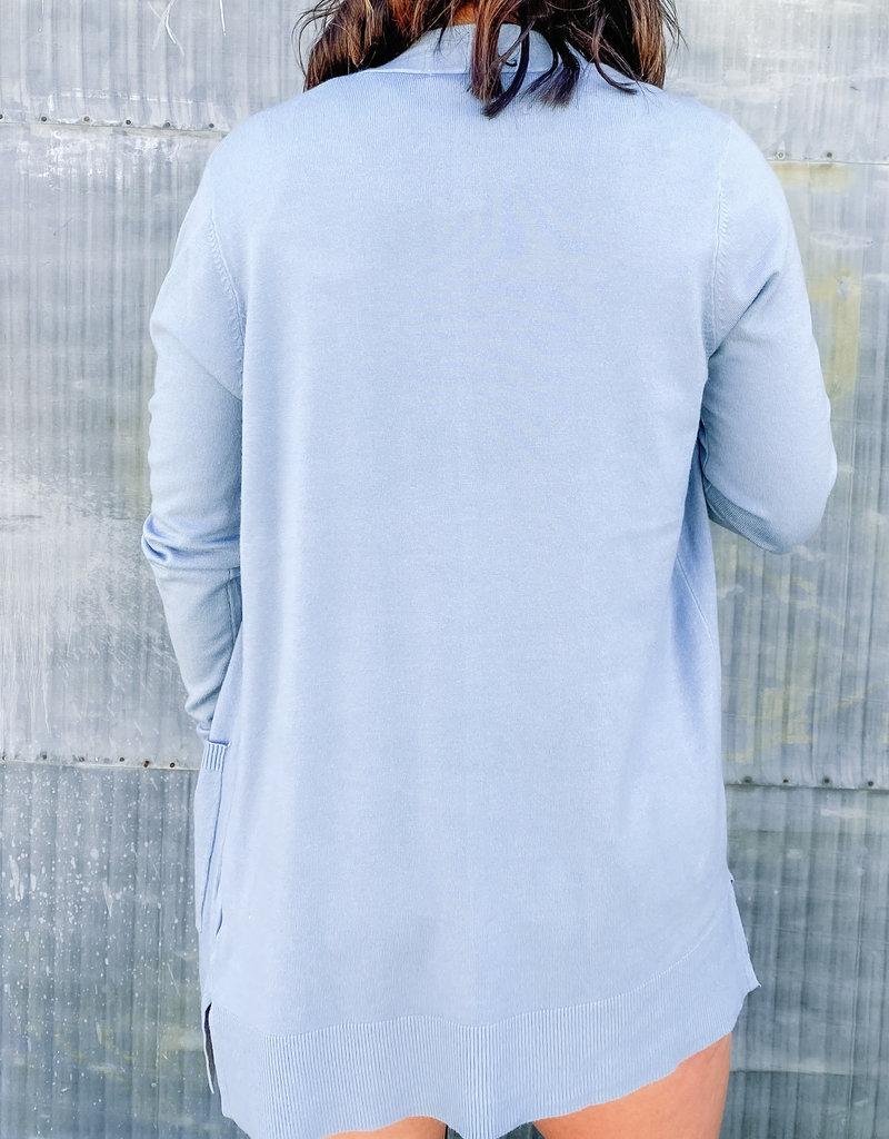 509 Broadway Open Front Long Sleeve Basic Cardigan