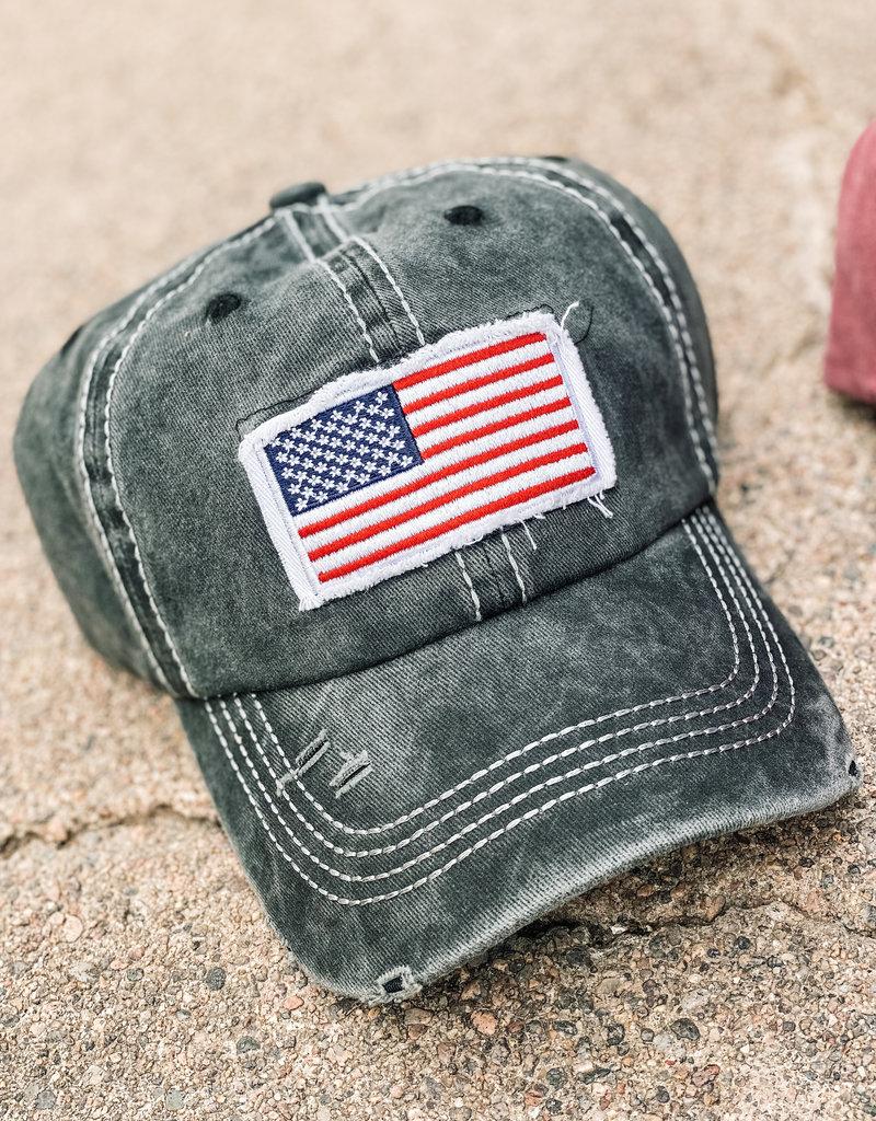 509 Broadway USA Flag Ponytail Hat