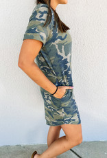 509 Broadway Camo French Terry T-Shirt Dress