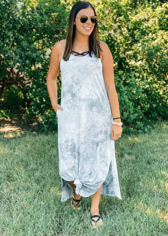 509 Broadway Tie Dye Sleeveless Maxi Dress