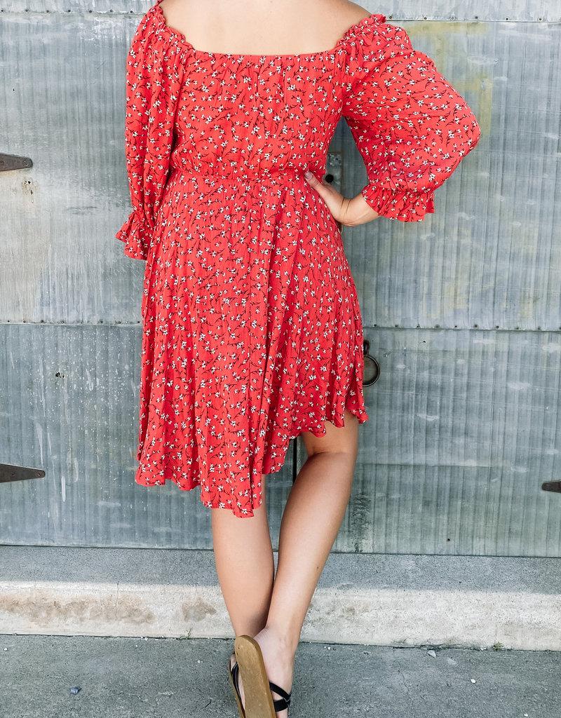 509 Broadway Long Sleeve Smocked OTS Floral Dress