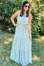 509 Broadway Tied Halter Print Tiered Maxi Dress