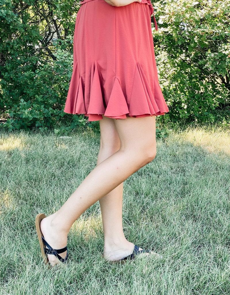 509 Broadway Solid Flared Drawstring Skirt