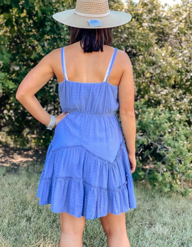 509 Broadway V-Neck Button Ruffle Dress