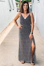 509 Broadway Woven Printed maxi Dress W/ Slit
