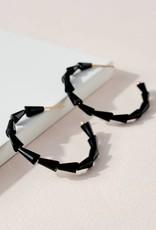 509 Broadway Glass Beaded Open Hoop Earrings