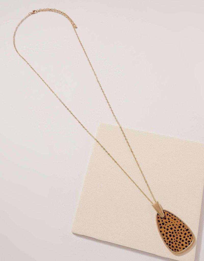 509 Broadway Animal Print Geometric Pendant Necklace