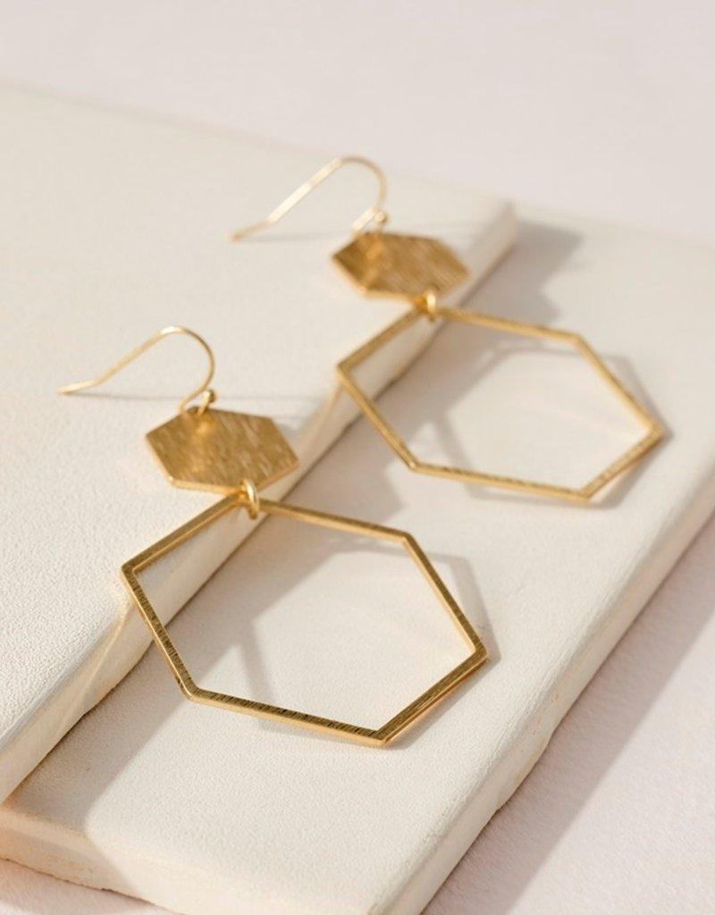 509 Broadway Hexagon Shaped Metal Drop Earrings