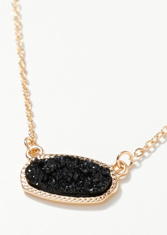 509 Broadway Oval Druzy Stone Short Necklace