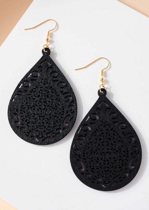 509 Broadway Tear Drop Cutout Wooden Earrings