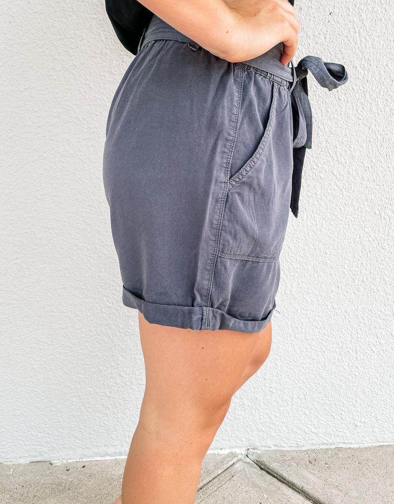 509 Broadway Tie Belted Tencel Shorts