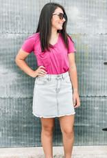 509 Broadway Raw Cut Denim Skirt