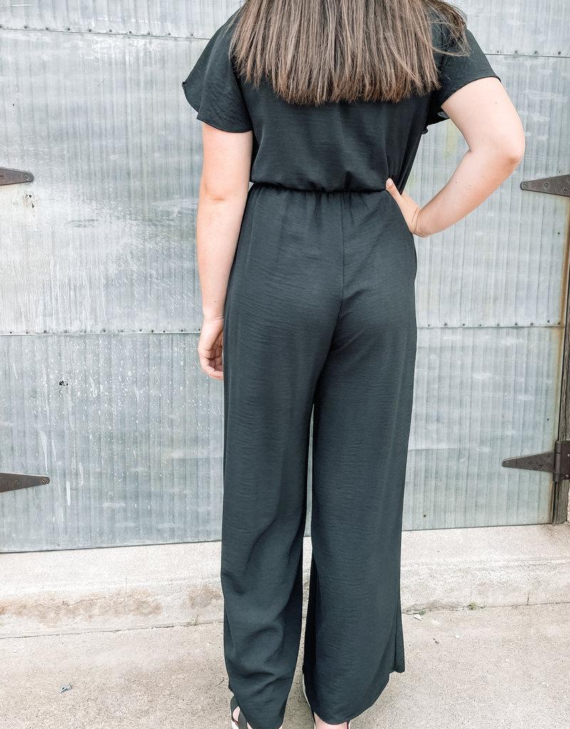 509 Broadway Flutter Sleeve Tie Front Jumpsuit