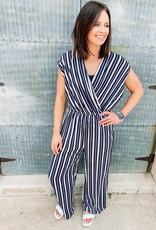 509 Broadway Dolman Sleeve Striped Jumpsuit
