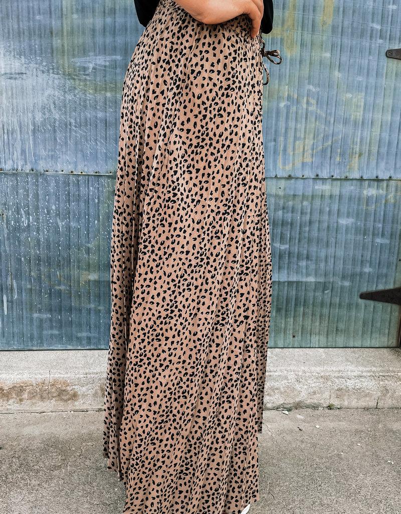 509 Broadway Leopard Print Drawstring Pleated Maxi