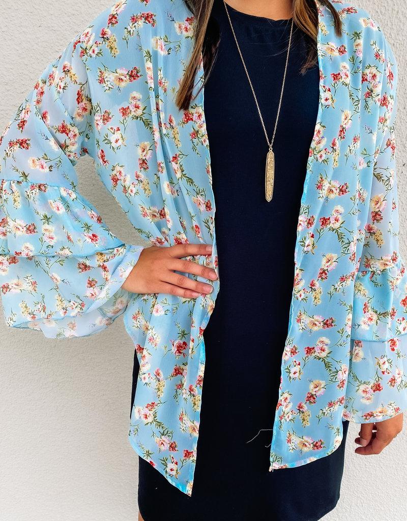 509 Broadway L/S Floral Print Split Hem Kimono