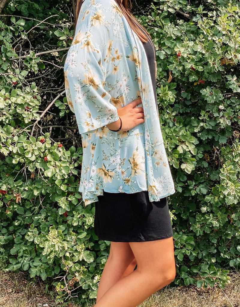 509 Broadway Floral Open Ruffle Kimono