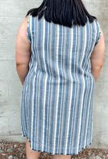Plus Size Stripe Sleeveless V-Neck Dress