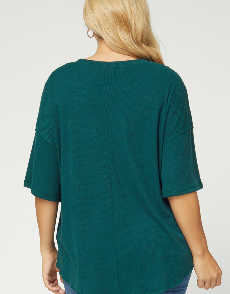 509 Broadway Plus Size Solid Rib Button Detail Top