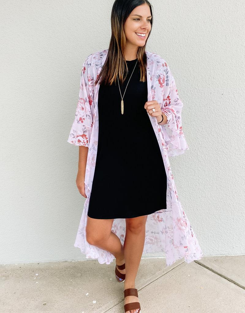 509 Broadway Floral Ruffle 3/4 Sleeve Kimono