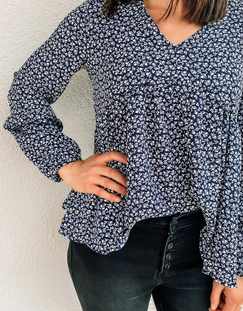 509 Broadway Cuff Sleeve Floral Print Top