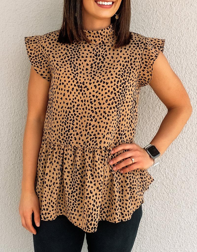 509 Broadway Mock Neck Leopard Flutter Top