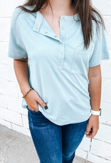 509 Broadway Solid Button Top W/ Pocket