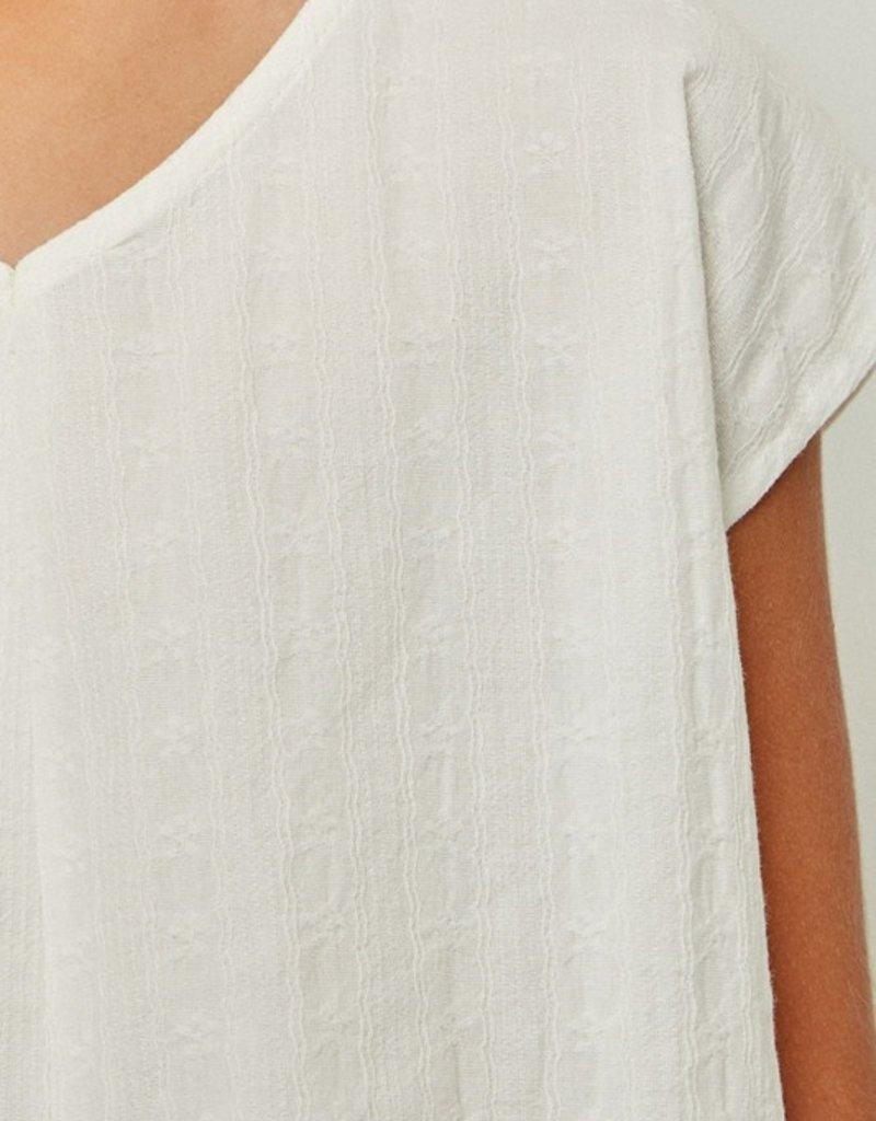 509 Broadway Girls Embroidered Tie Front Top