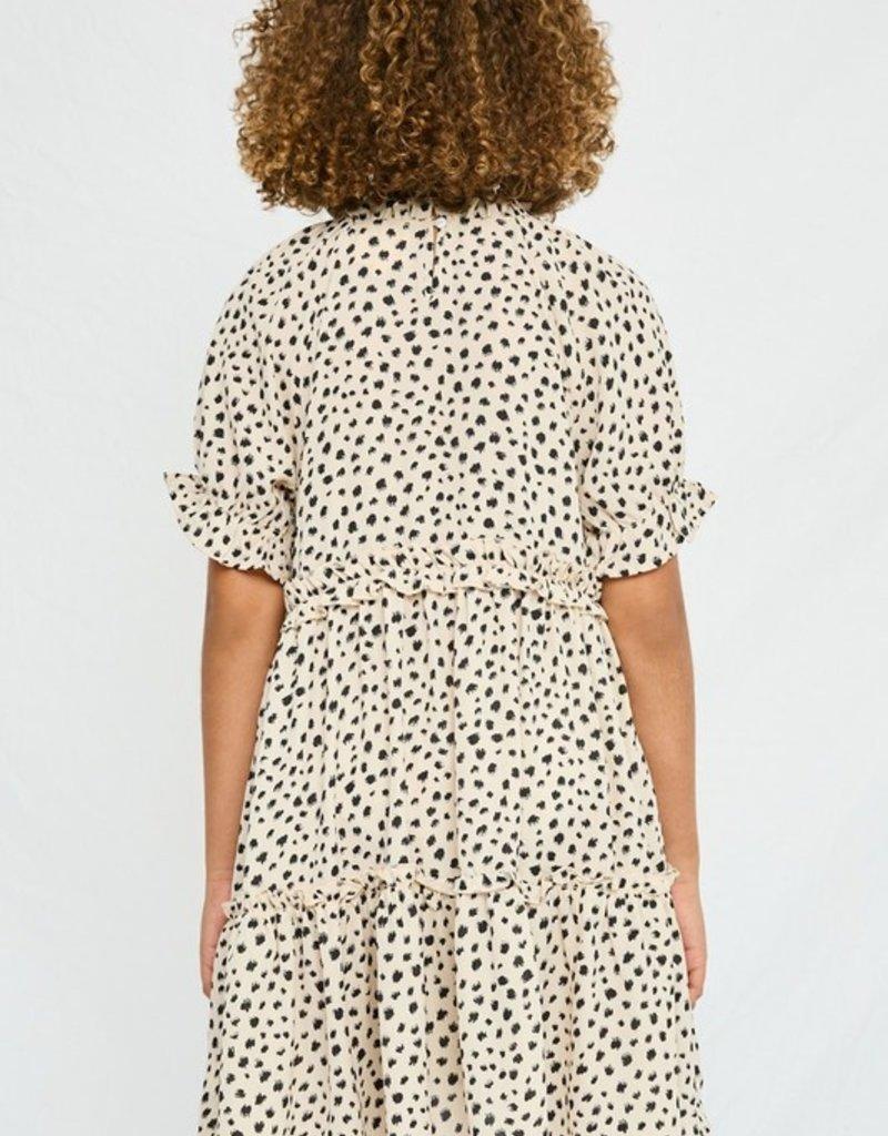 509 Broadway Girls Abstract Dot Ruffle Tiered Dress