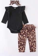 509 Broadway 3 Piece Black Leopard Baby Set