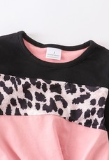 509 Broadway Girls Pink Leopard Tie Front