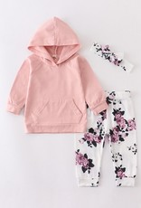 509 Broadway Pink Floral Baby Hoddie Set
