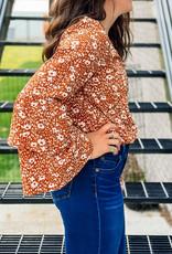 509 Broadway Floral Print Woven Bodysuit