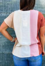 509 Broadway V-Neck Color Block Vertical Stripe Top