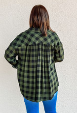509 Broadway Oversized Plaid Button Down Top