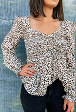 509 Broadway Puff Sleeve Woven Printed Top