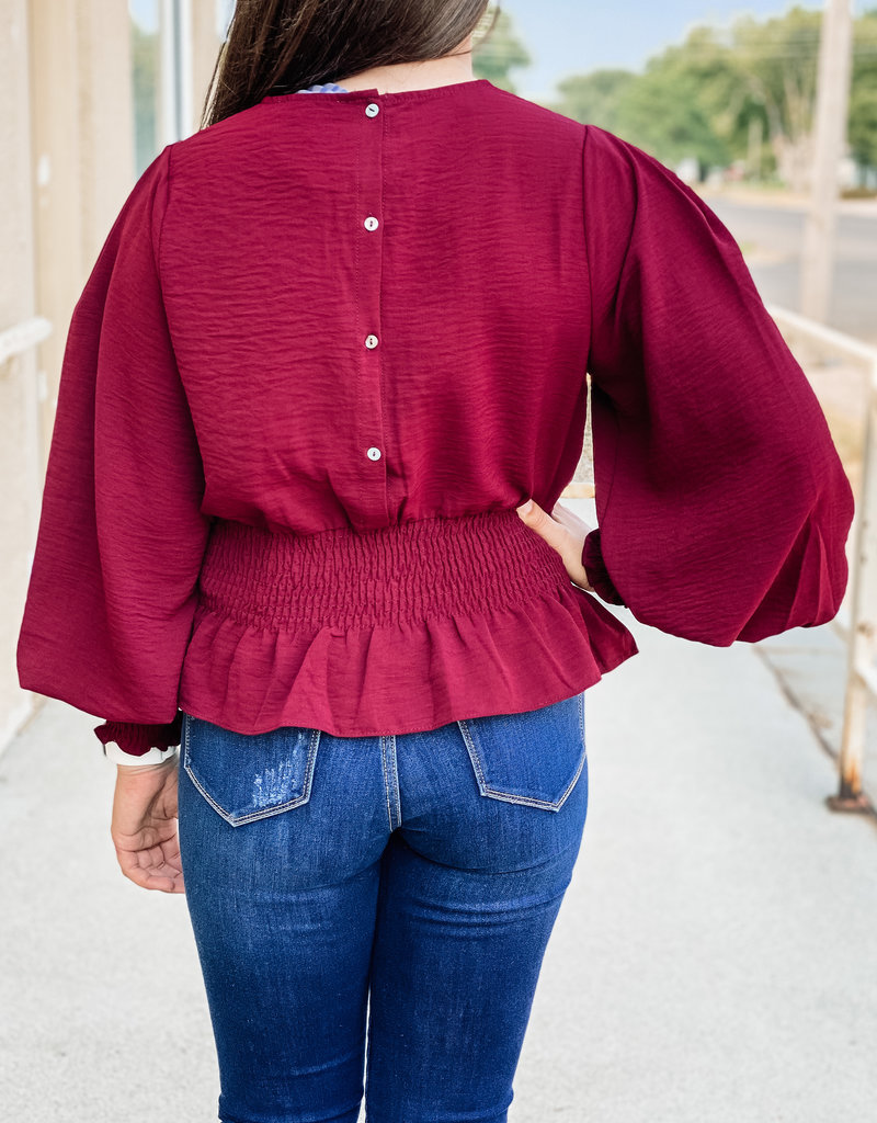 509 Broadway Smock L/S Woven Top With Detail Sleeve