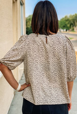 509 Broadway Abstract Leopard Print Blouse