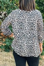 509 Broadway Animal Printed Button Down Shirt