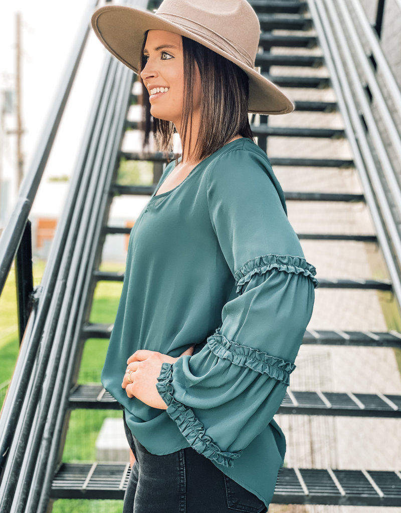 509 Broadway V-Neck Ruffle Detail Solid Top