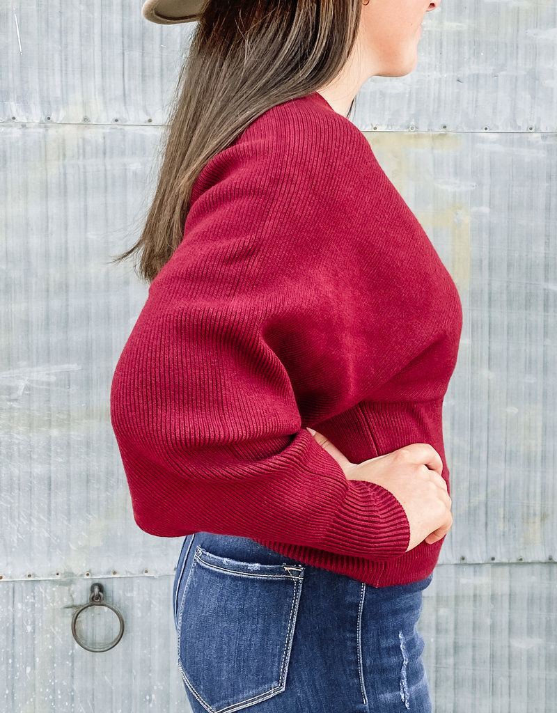 509 Broadway Double V-Neck Dolman Banded Sweater