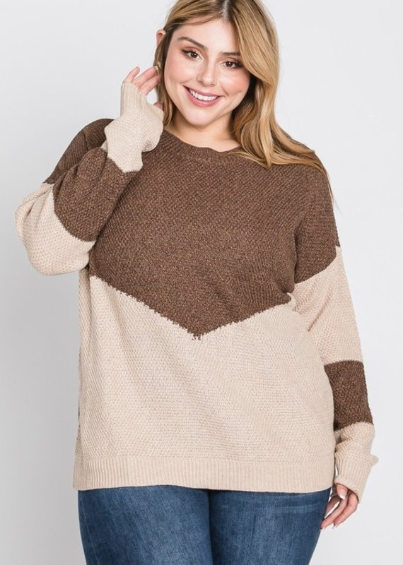 509 Broadway Plus Size Color Block L/S Sweater