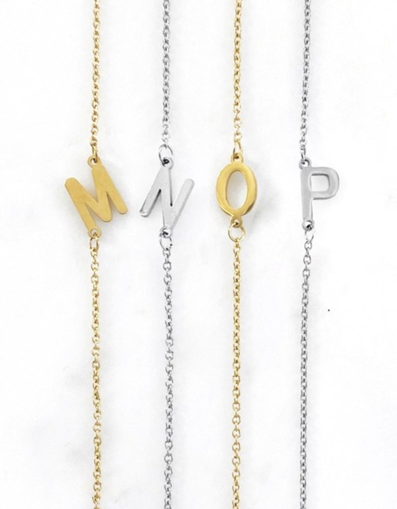 509 Broadway Dainty Sideways Initial Necklace