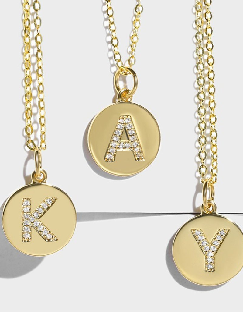 509 Broadway Pave Initial Round Disk Necklace